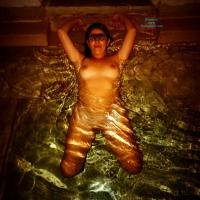 Jacuzzi Time! - Brunette, Wet