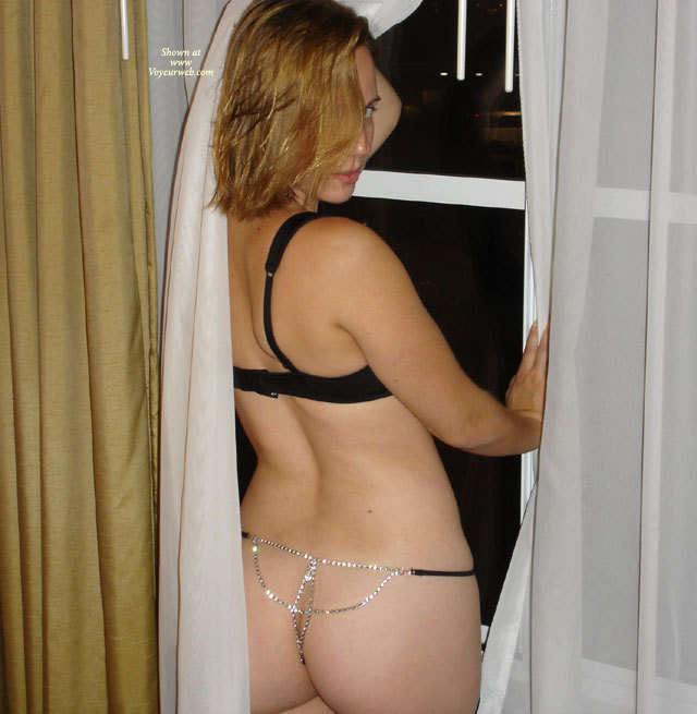 Exposed In Window - Blonde Hair , Window Pose, Diamond Cheeks, Neighbour, Window Shot, Black And Rhinestone Thong, Standing In The Window, Nice Ass In Window, Short Blonde Hair, Sparkling Ass Floss