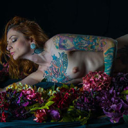 Sexy With Flowers - Redhead, Tattoos