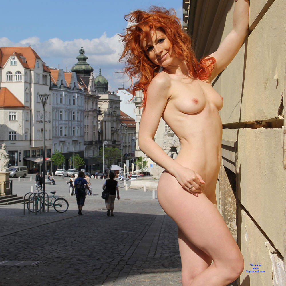 Pic #1Vienna - Nude In Lovely Brno - Big Tits, Flashing, High Heels Amateurs, Public Exhibitionist, Public Place, Redhead, Shaved