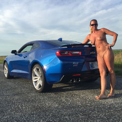 Naked Blonde With Beside A Mustang - Big Tits, Blonde Hair, Full Nude, Naked Outdoors, Nude Outdoors, Shaved Pussy, Sexy Body, Sexy Legs , Car Model, Naked Outdoor, Blonde, Sunglasses, Big Tits