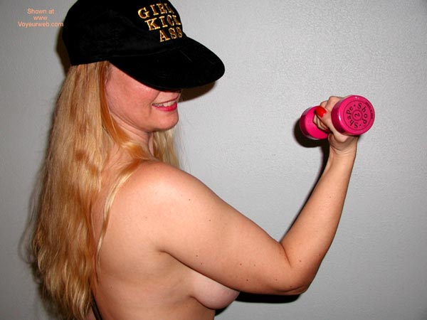 Lifting Weight - Blonde Hair, Topless , Lifting Weight, Topless, Black Hat, Blonde Hair, Hidden Workout