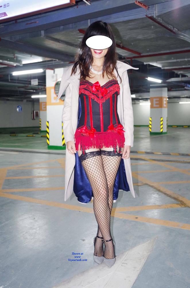 Pic #1Parking Garage - High Heels Amateurs, Lingerie, Public Exhibitionist, Public Place