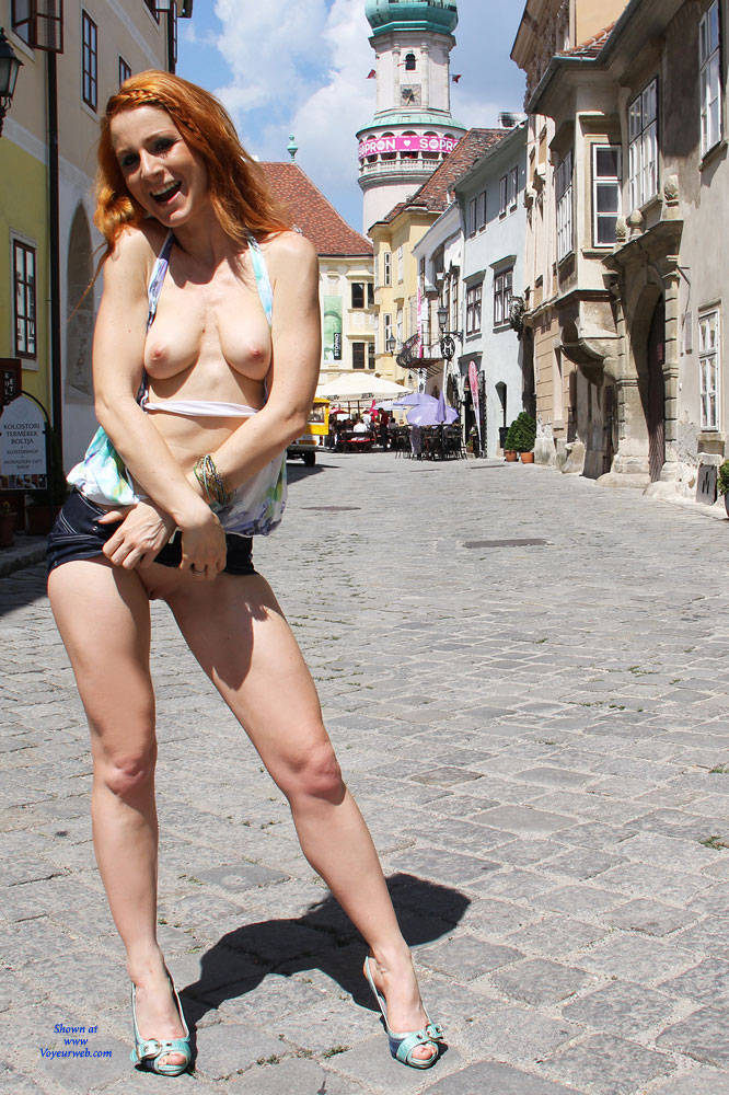 Pic #1 Vienna - Hungarian Summer - Redhead, Public Place, Public Exhibitionist, Flashing, Shaved