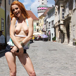 Pic #1Vienna - Hungarian Summer - Redhead, Public Place, Public Exhibitionist, Flashing, Shaved