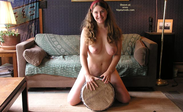 Large Breasts - Brunette Hair, Full Nude, Large Breasts, Long Hair, Smiling , Large Breasts, Long Brunette Hair, Girl Kneeling In Living Room, Fully Nude, Long Hair, Hippie Milf Straddling Drum  Smiling, Cute Nudist