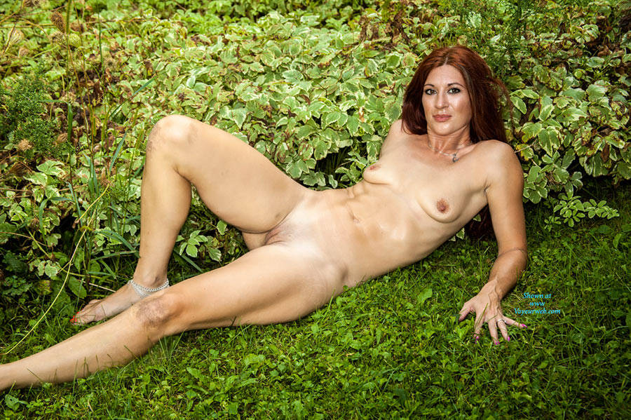 Pic #1Ember Naked In The Corn  - Medium Tits, Outdoors, Redhead, Shaved
