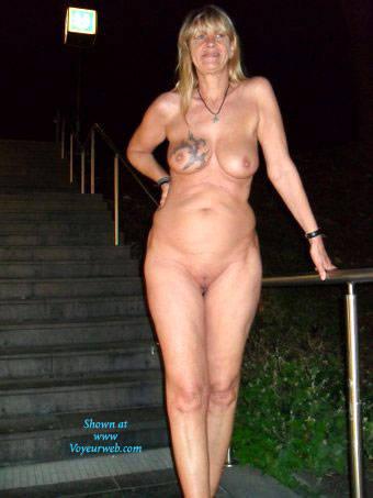 Pic #1Fotoluder Regi Regina Schulte aus Halver  - Public Exhibitionist, Mature, European And/or Ethnic, Blonde, Big Tits, Public Place, Tattoos