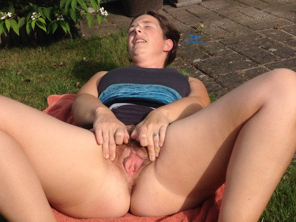 Pic #1Nude In Our Backyard ! - Brunette, Outdoors, Wife/wives, Bush Or Hairy