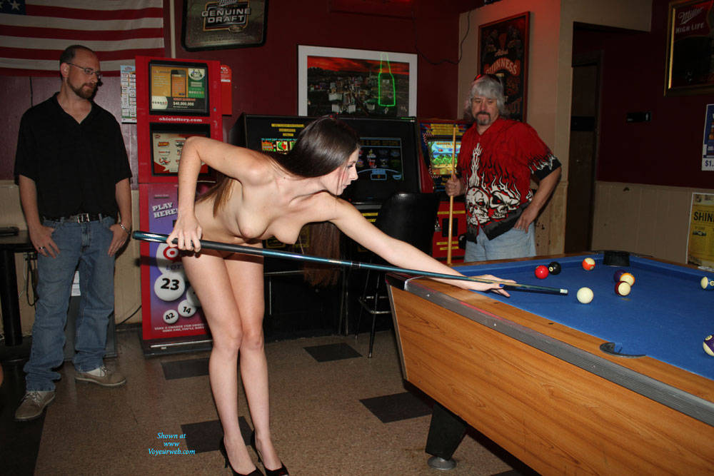 Pic #1Naked Lady Walks Into A Bar - Brunette, Public Exhibitionist, High Heels Amateurs, Public Place, Shaved