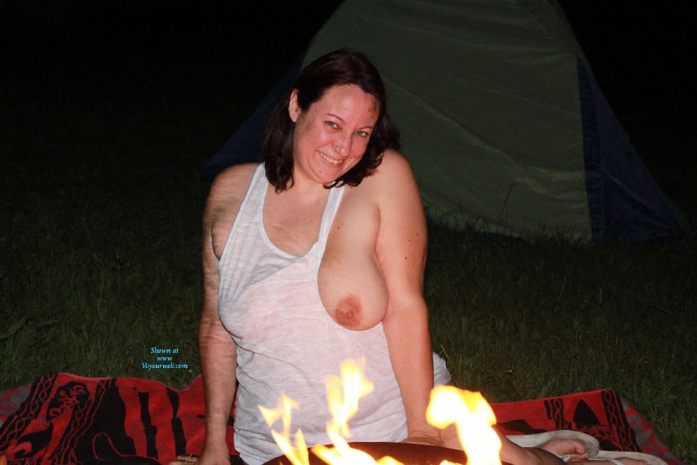 Pic #1Backyard With Camp Fire - Big Tits, Brunette, Outdoors, Wife/wives