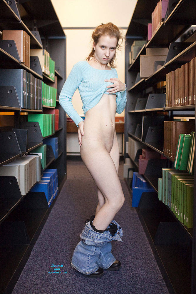 Pic #1Flashing In Library - Public Exhibitionist, Public Place