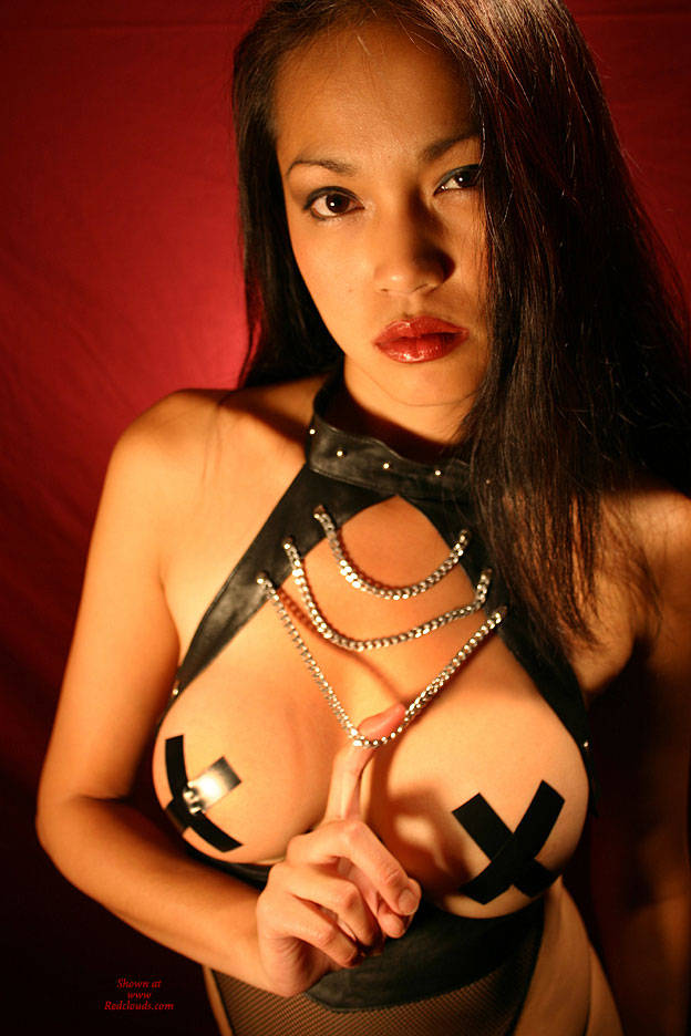 Pic #1Handcuffs Leather And Tape - Brunette, Big Tits, Asian, S&m, Pussy Hair