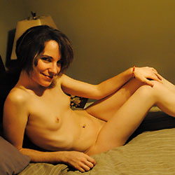 Short Hair Nude on Bed - Bed, Brunette Hair, Erect Nipples, Nipples, Small Tits, Sexy Body, Sexy Legs , Naked, Nude, Short Hair, Bed, Nipples