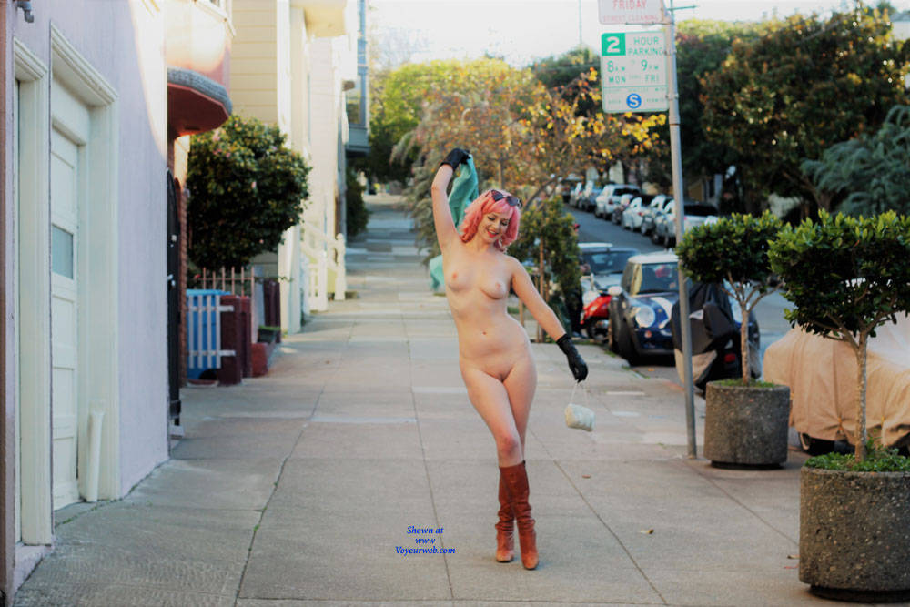 Pic #1Nude In The Street (Part One) - Big Tits, Public Exhibitionist, Flashing, Outdoors, Public Place, Shaved