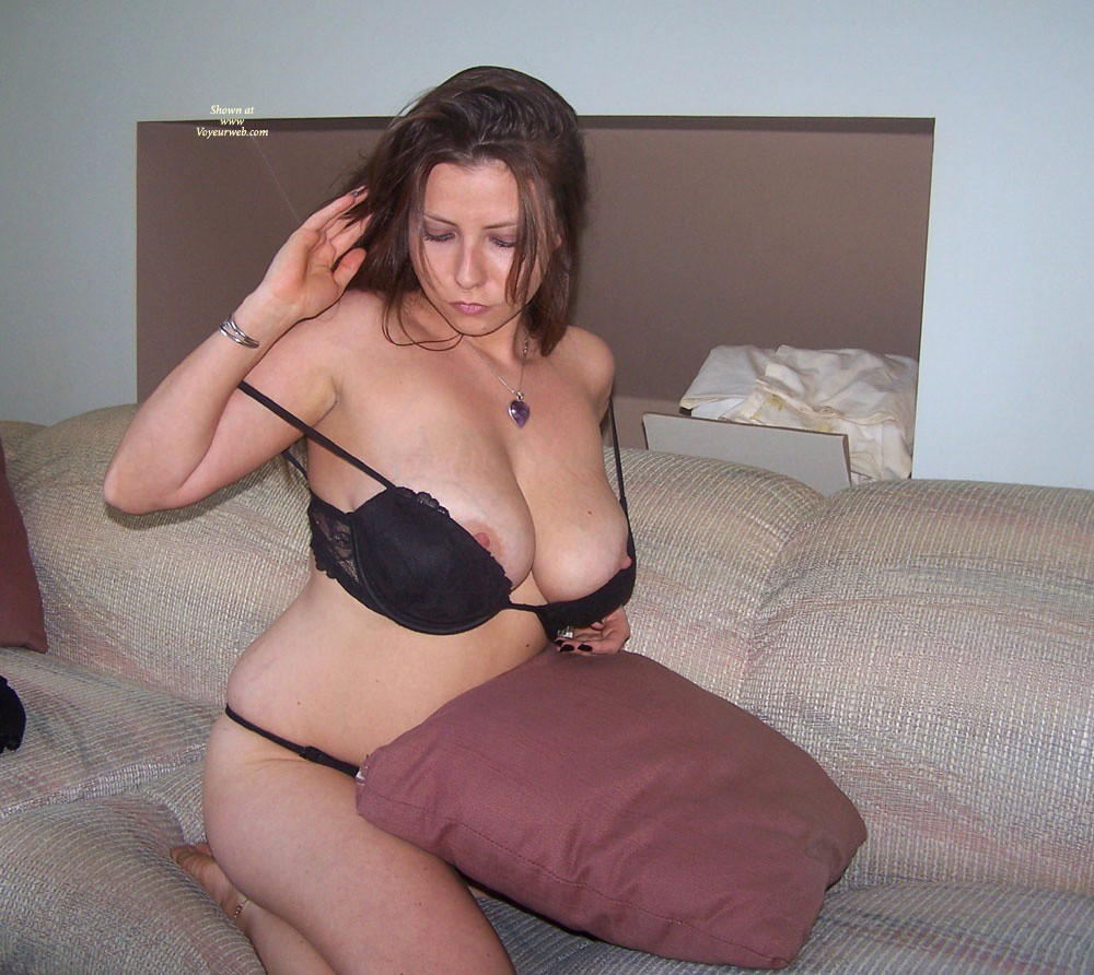 Teasing In Black Lingerie - Big Tits, Brunette Hair, Sexy Lingerie , The Black Lingerie As My Gift For Her Teasing...
