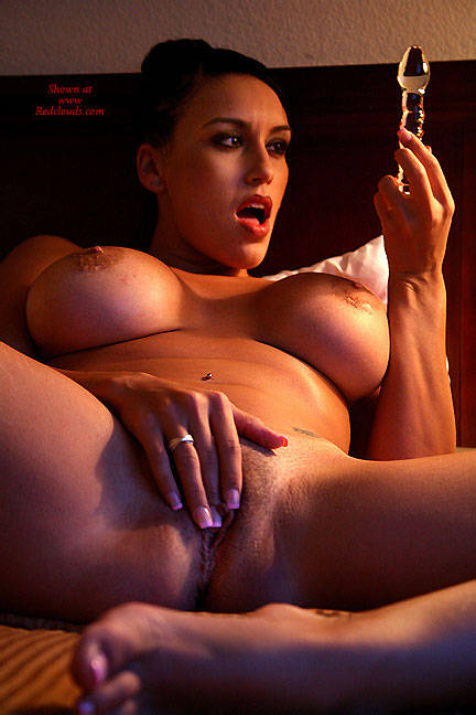 Pic #1Glass And Hitachi - Big Tits, Brunette, Toys, Shaved, Close-ups