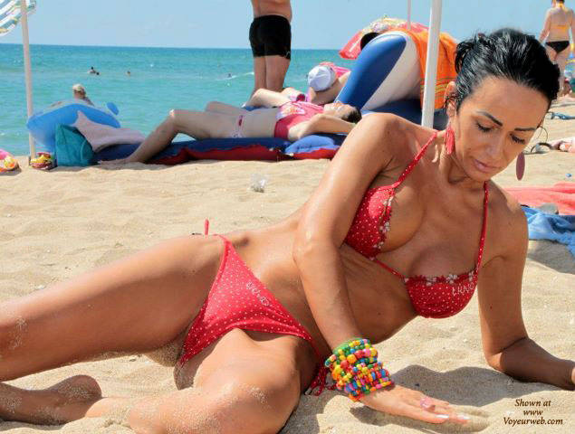 Pic #1Romanian Pussy Slip - Big Tits, Brunette, Outdoors, Bikini Voyeur, Beach Voyeur