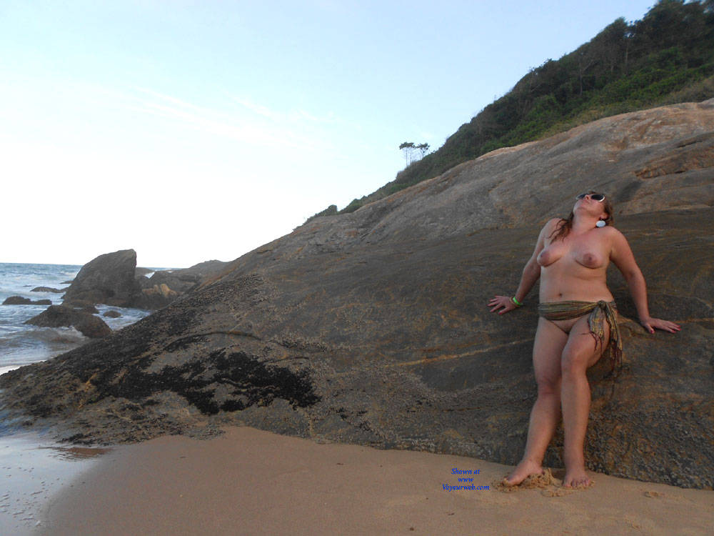 Pic #1 My Wife Beatrice On The Beach - Wife/wives, Outdoors, Mature, Big Tits, Beach, Natural Tits