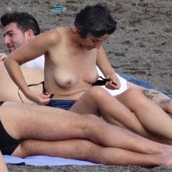 Enjoying The Sun - Beach Voyeur, Outdoors, Brunette, Big Tits