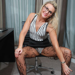 Sexy Blonde Wearing Eyeglasses - Blonde Hair, Chair, Heels, Stockings, Sexy Legs, Sexy Panties , Sexy, Blonde Girl, Eyeglasses, Stockings, Chair, Heels
