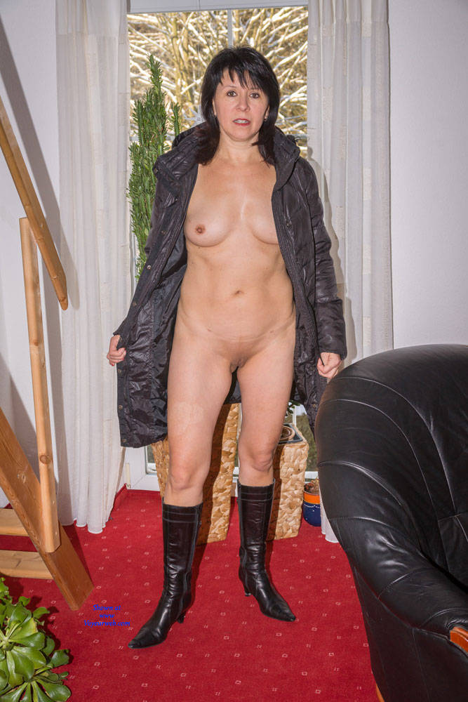 Pic #1Blach Coat On Black Chair - Brunette, Shaved, Natural Tits