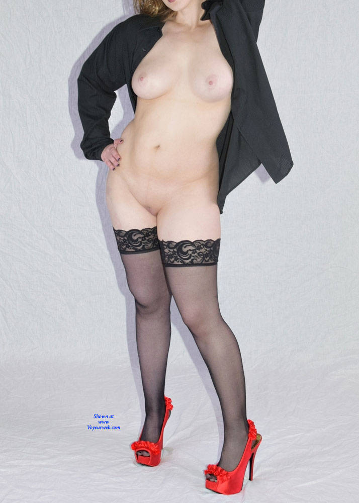 Pic #1Black Stockings And Red Stilettos - Part Two - Big Tits, High Heels Amateurs, Lingerie, Wife/wives, Shaved