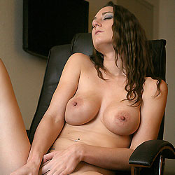 Naked Brunette Playing Her Pussy - Big Tits, Brunette Hair, Chair, Perfect Tits, Shaved Pussy, Sexy Body, Sexy Legs, Toys , Brunette Babes, Naked, Pussy, Tits, Vibrator