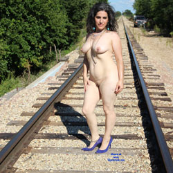 Along The Tracks - Nude Girls, Big Tits, Brunette, High Heels Amateurs, Outdoors