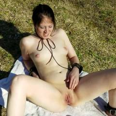A Quick Glimpse - Nude Girls, Brunette, Outdoors, Shaved