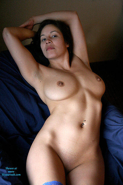 Pic #1Blue Thigh Highs - Big Tits, Brunette, Lingerie