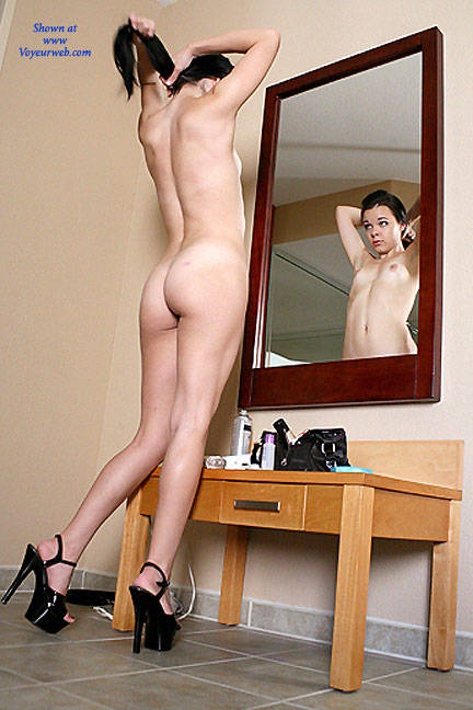 Naked Mirror Viewing - Brunette Hair, Full Nude, Heels, Mirror Shot, Nipples, Round Ass, Small Breasts, Small Tits, Naked Girl, Sexy Ass, Sexy Body, Sexy Figure, Sexy Girl, Sexy Legs, Sexy Woman, Young Woman , Brunette, Naked, Heels, Ass, Legs, Small Tits