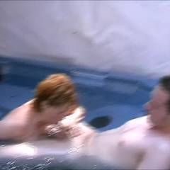 Hot Tub Fun - Blowjob, Outdoors, Redhead, Amateur