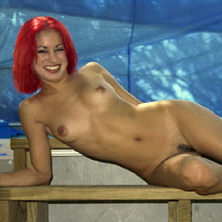 Red At The Photo Shoot - Hairy Bush, Nude Outdoors, Naked Girl, Amateur , Red Hair, Nude, Naked, Small Tits, Shaved Pussy, Outdooes