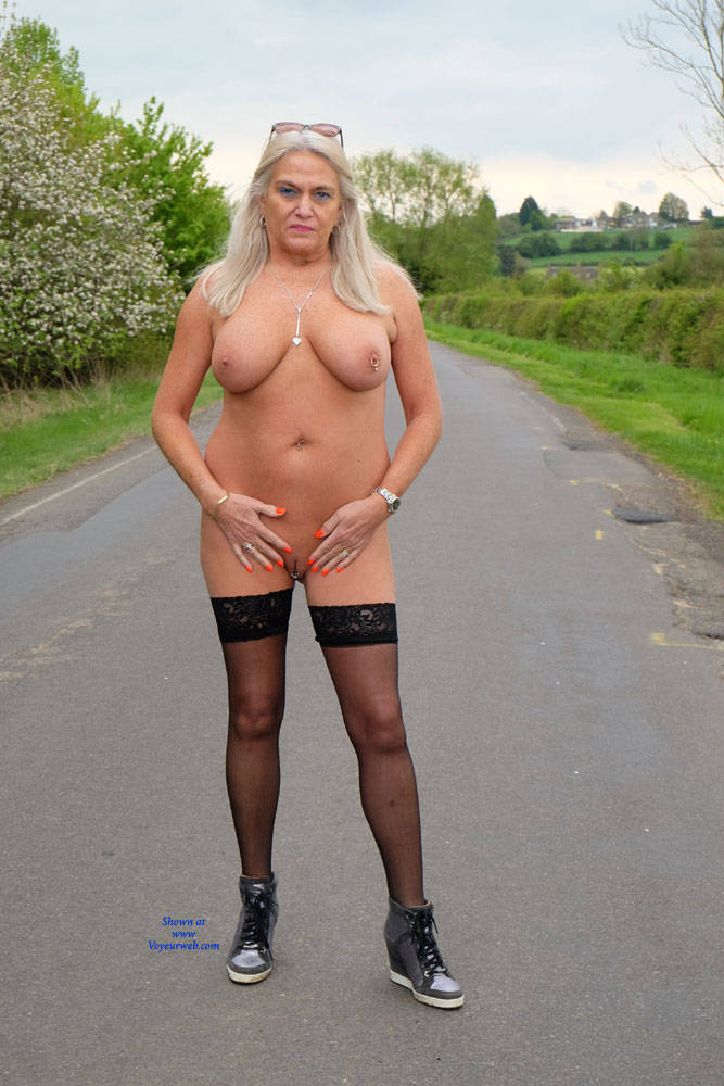 Pic #1Flashing In Public - Nude Amateurs, Big Tits, Blonde, Public Exhibitionist, Flashing, Public Place, Shaved, Body Piercings