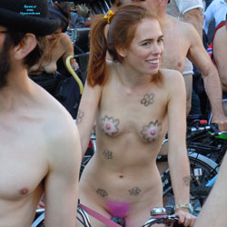 London Naked Bike Ride 2013 - Nude Girls, Public Exhibitionist, Outdoors, Public Place, Redhead, Small Tits