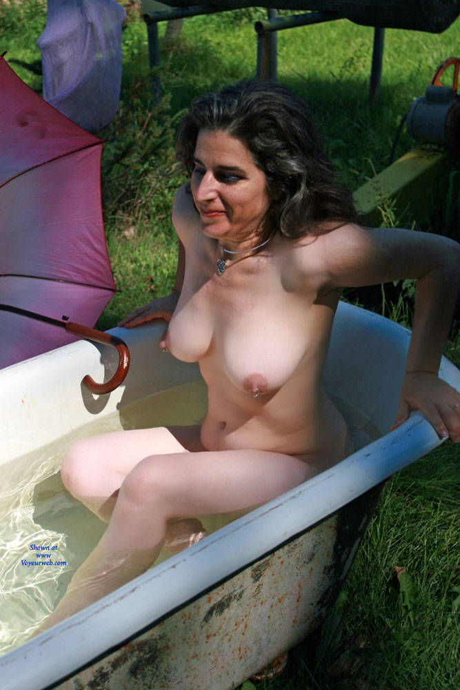 Naked Outdoor Bathing Big Tits Brunette Hair Exposed In Public Full Nude