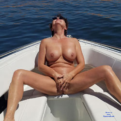 Ass Flashing On The Boat - Nude Amateurs, Brunette, Outdoors