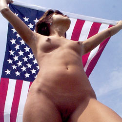 Patriotic Day - Nude Girls, Brunette, Outdoors, Shaved