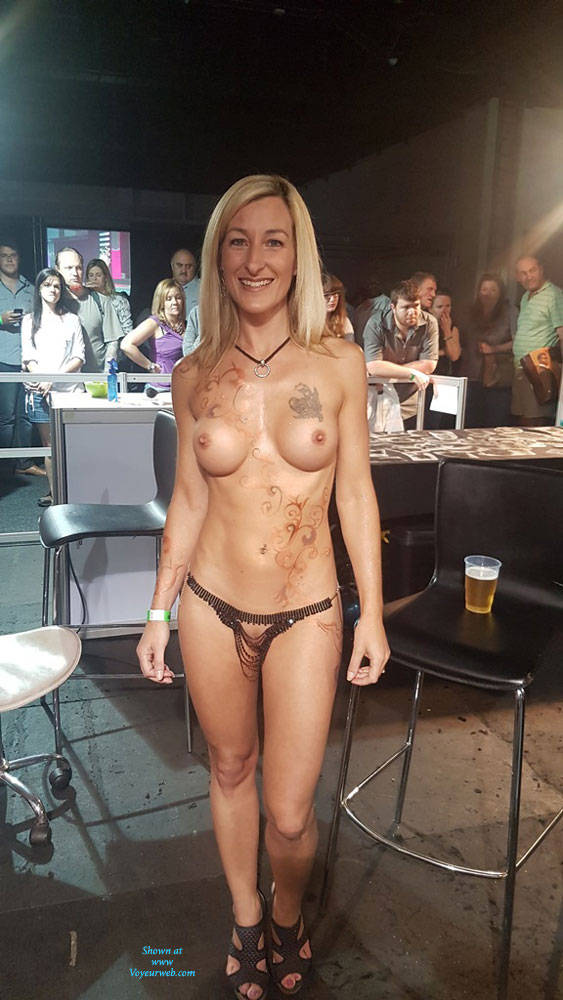 Pic #1Sexpo JHB 2017 - Nude Girls, Blonde, Public Exhibitionist, Flashing, Public Place, Shaved