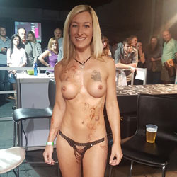 Topless Blonde At The Bar