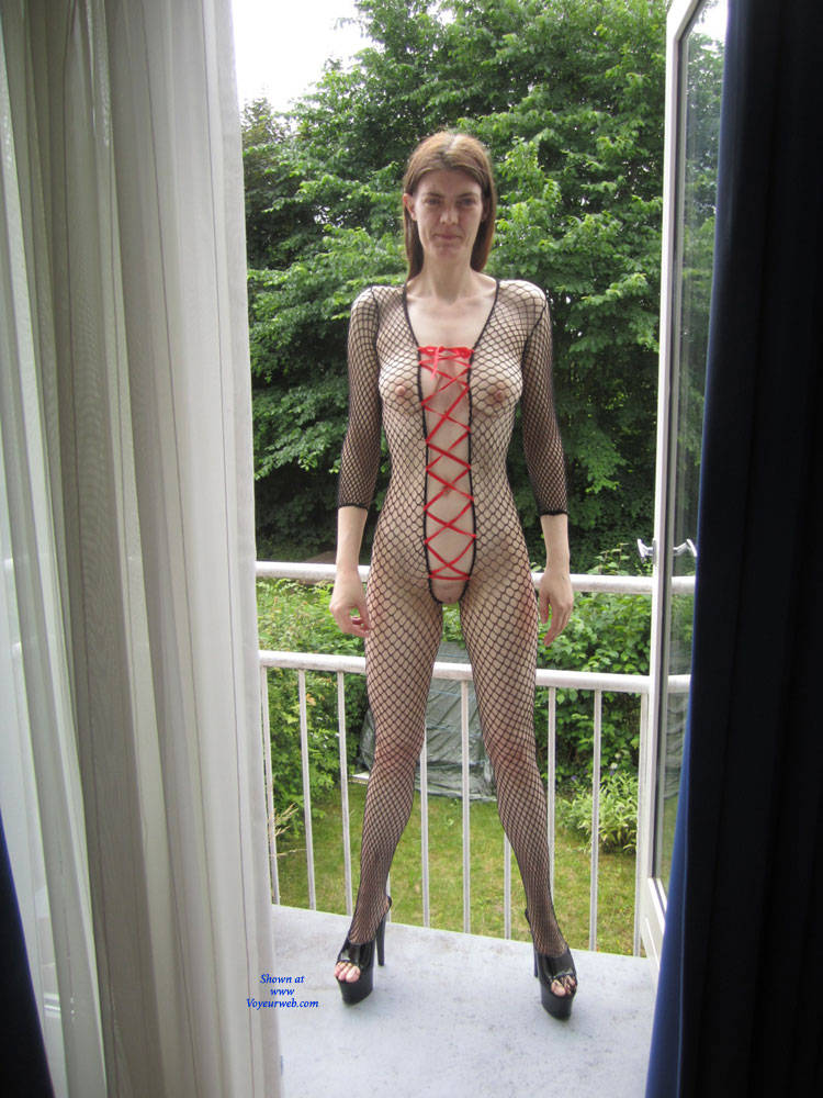 Pic #1 Balcony - Big Tits, Brunette, Lingerie, Amateur