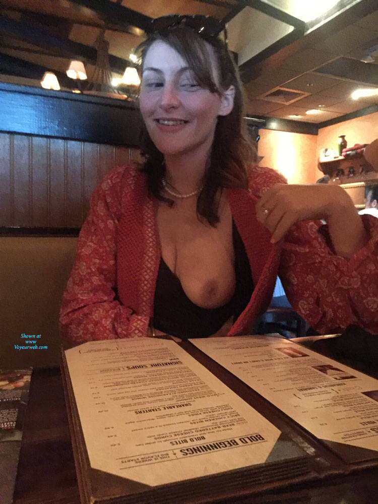 Pic #1Piper Showing During Dinner - Natural Tits, Brunette, Public Exhibitionist, Flashing, Public Place, Amateur
