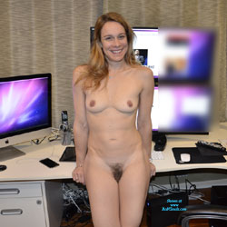 Naked Blonde In Her Workspace