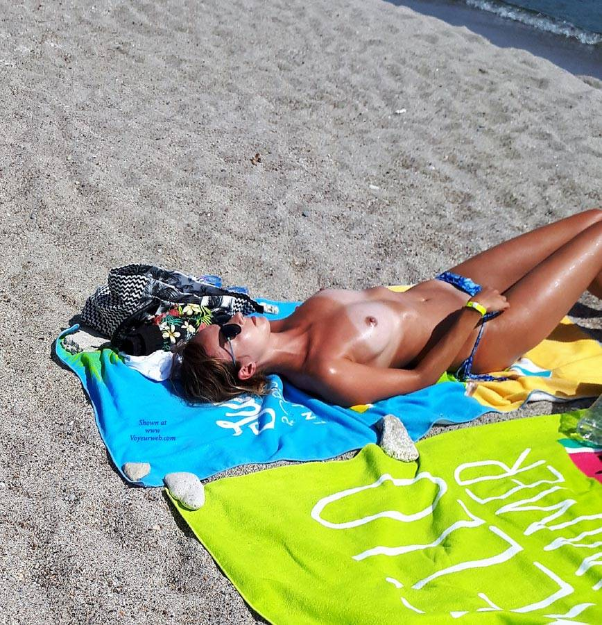 Pic #1Out For A Walk On The Beach - Topless Girls, Beach, Brunette, Outdoors, Beach Voyeur