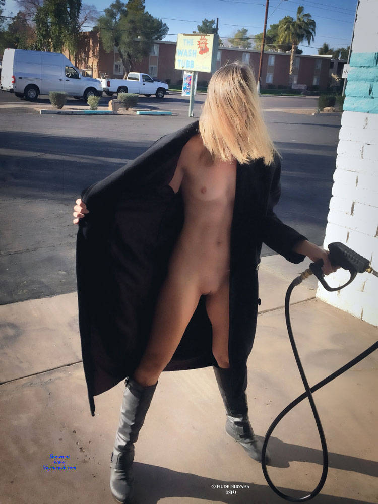Pic #1Nirvana Car Wash - Nude Wives, Blonde, Public Exhibitionist, Flashing, Outdoors, Public Place, Shaved, Amateur