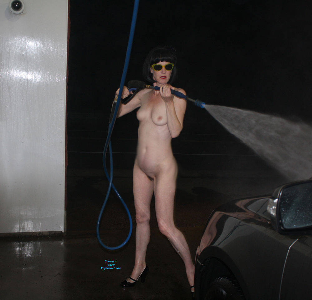 Pic #1Patsy Goes To The Car Wash - Brunette, Public Exhibitionist, Outdoors, Public Place, Shaved, Amateur