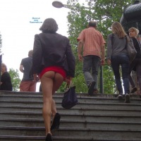 Nadia Flashing On The Champs Elysees - Public Exhibitionist, Public Place