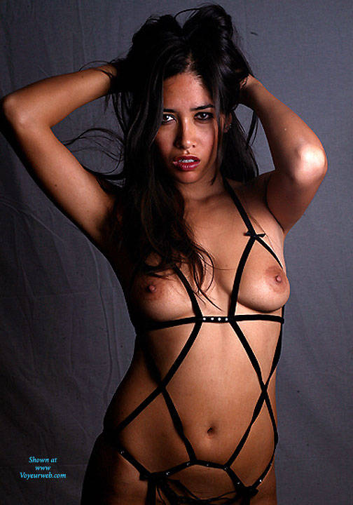 Leather O-rings - Brunette Hair, Naked Girl , Nude, Leather Outfit, Big Tits