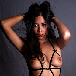Hot In Leather Strings - Big Tits, Brunette Hair, Nipples, Showing Tits, Hot Girl, Naked Girl, Sexy Body, Sexy Face, Sexy Figure, Sexy Woman , Brunette, Nude, Leather Outfit, Big Tits